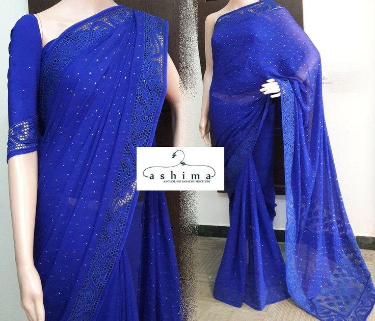 Code:18101714 - Price INR:8700/- , Chiffon Saree With Cutwork Border And Badla Work.