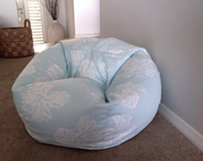 Bean Bag Coastal Beach House Floral Blue By MyBeachsideStyle