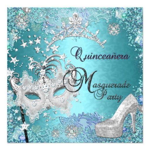 Masquerade Quinceanera 15th Party Blue Tiara Shoe Custom Invite