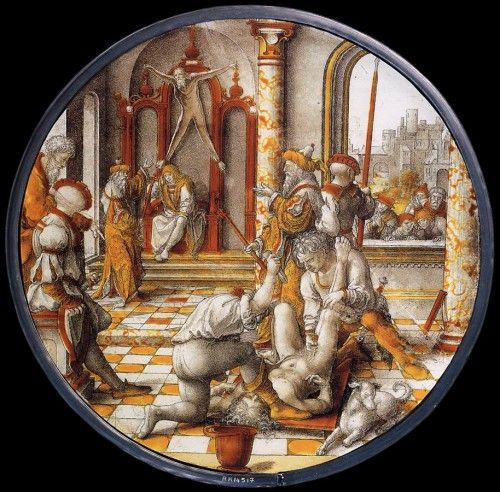 'The Judgment of Cambyses' by Dirck Vellert, (1542 CE), Rijsmuseum, Amsterdam. This panel shows a scene from Herodotus's Histories: Sisamnes, a corrupt judge, is ordered to be flayed alive by Cambyses, the Persian king. His skin was then used as a cover for the seat his son would use when he sat in judgment. -- Ancient History Encyclopedia