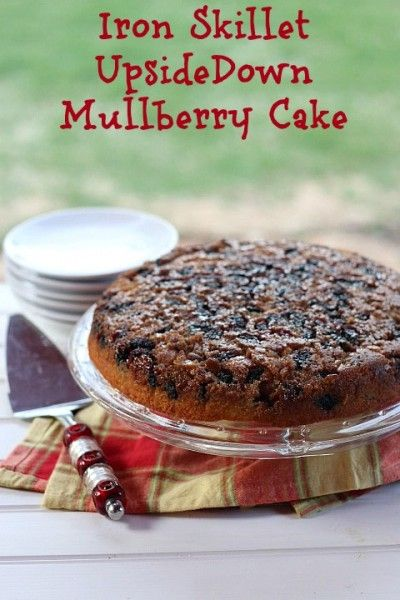 Iron Skillet Mulberry, Raspberry or Blackberry Upside Cake - you can make it in the oven or even at a cookout on the grill! #summersoiree #foodnetwork #mulberries #cake #recipe #Picnic