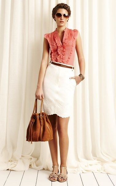 Coral blouse white skirt nude shoes