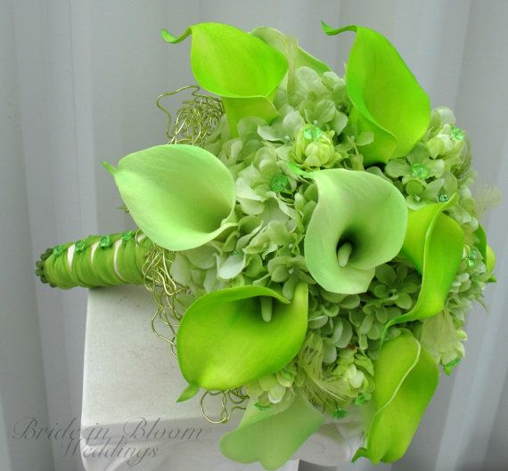 Lime green wedding bouquet real touch by BrideinBloomWeddings...add some blue and this would be perfect!