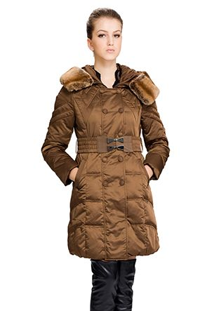 Freda/dark gold surface(90% goose filler)with faux brown chinchilla fur/middle down coat