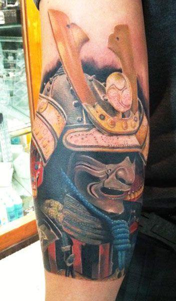 Samurai Helmet Tattoo by Daniel Rocha