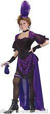 Ladies 6P Purple Saloon Girl Brothel Madame Wild West Fancy Dress Costume Outfit