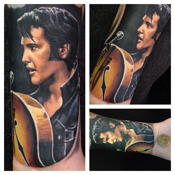 One of the best Elvis Tattoos I've ever seen,  by Randy Engelhard