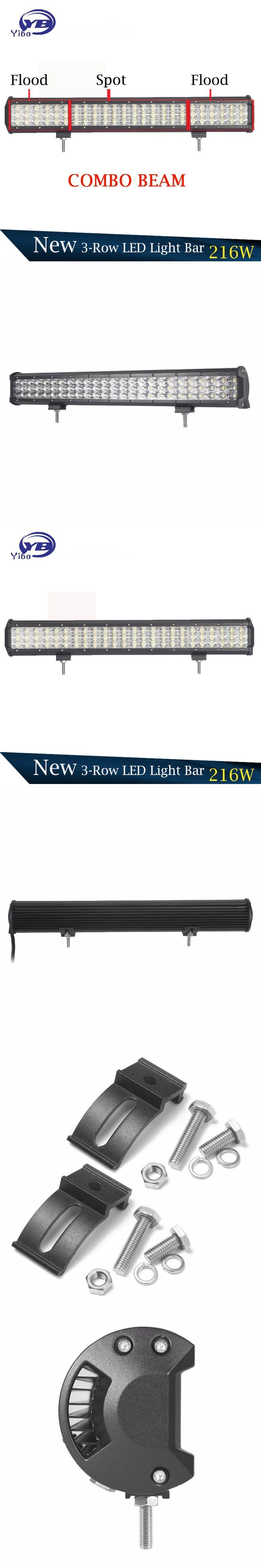 23inch 216w 6D 3-Row LED Light Bar 4X4 car Off road LED Light Bar IP67 waterproof Combo Beam offroad LED light bar for truck