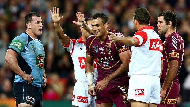 Sin-binned: Justin Hodges is marched off the field.