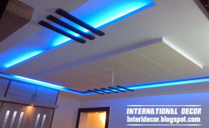 False ceiling pop design plasterboard led lighting blue for Pop design for hall