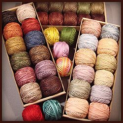 My favorite embroidery thread -- hand dyed pearl cotton from Valdani - Gorgeous! this is a brand I've never heard of.