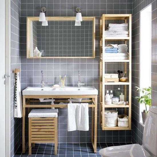 holz material badetuchhalter lampen regale fünf praktisch design