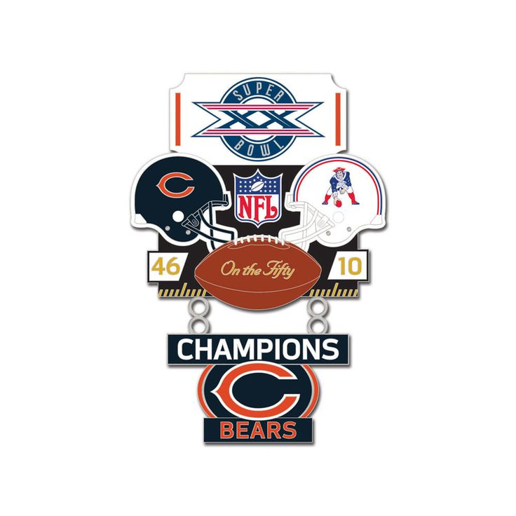 Super Bowl XX (20) Bears vs. Patriots Champion Lapel Pin - Sunset Key Chains