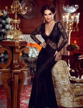 Rochie eleganta stil sirena dantela neagra
