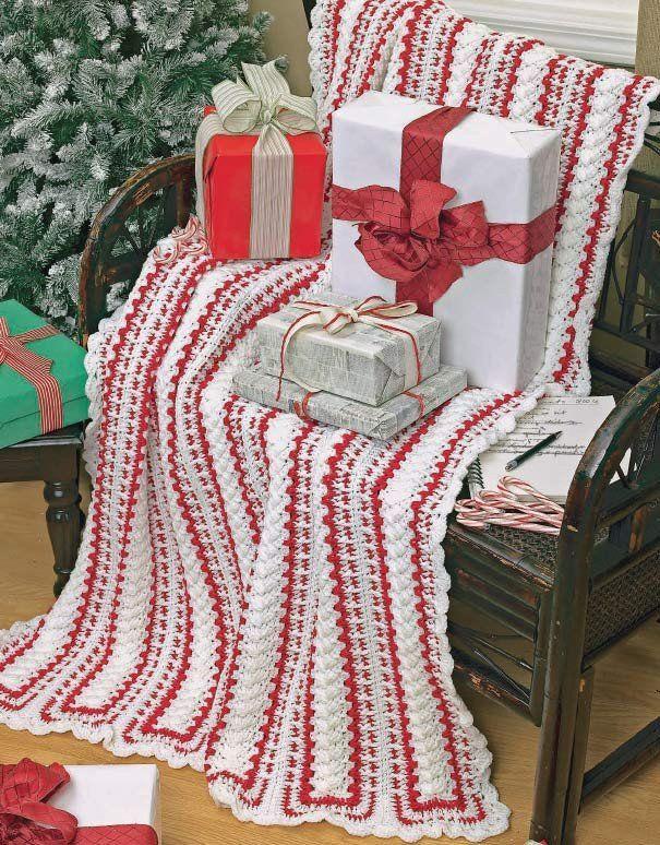 """Original Designs By: Maggie WeldonCrème de Menthe Afghan: Candy Cane Panels: Sizes:Crème de Menthe Afghan: 42"""" x 62"""" (106.5 cm x 157.5 cm)Candy Cane Panels Afgh"""