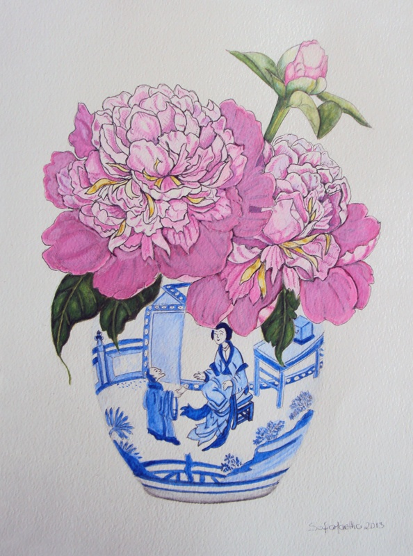 Pink Peonies in a Blue and white Ginger Jar. Watercolour and gouache on paper. Image and artwork copyright Sofia Martha