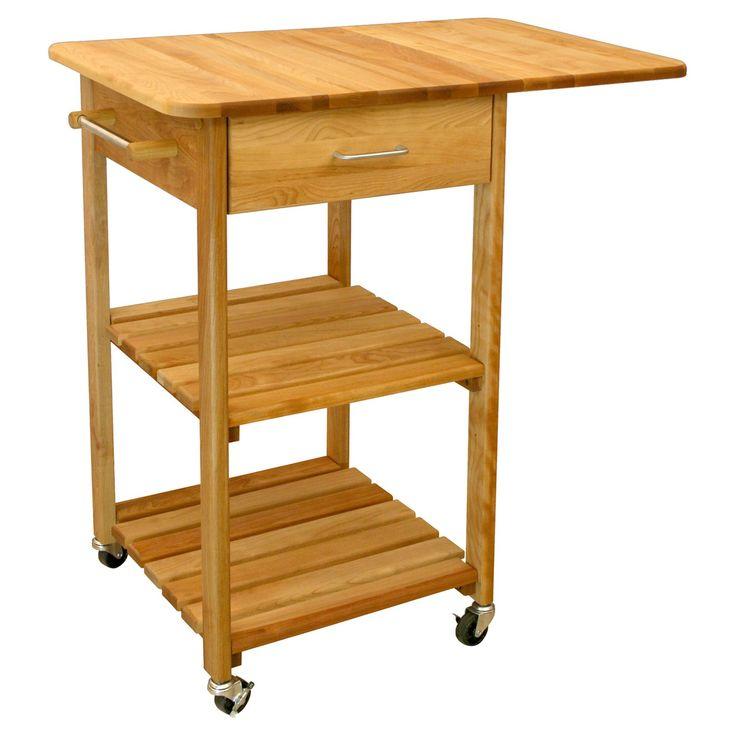 Catskill Two Shelf Cart With Drop Leaf   Butcher Block Top