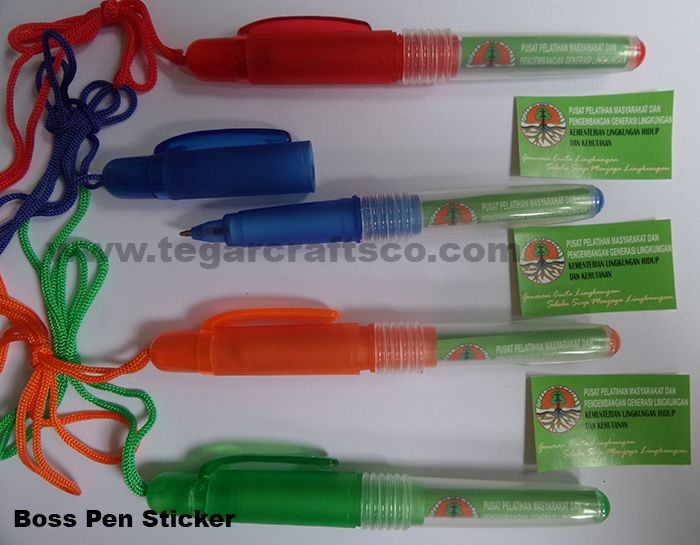 Pens sticker is equipped with a rope to be hung around the neck, the right choice for you who need a souvenir to share with the participants of the training event or seminar with low fares, available in various colors. Looks image above pen boss sticker ordered by  Pusat Pelayanan Masyarakat dan Pengembangan Generasi Lingkungan Kementerian Lingkungan Hidup -Community Service Center and Generation Development Environment Ministry of the Environment-, Jakarta. February 1, 2017