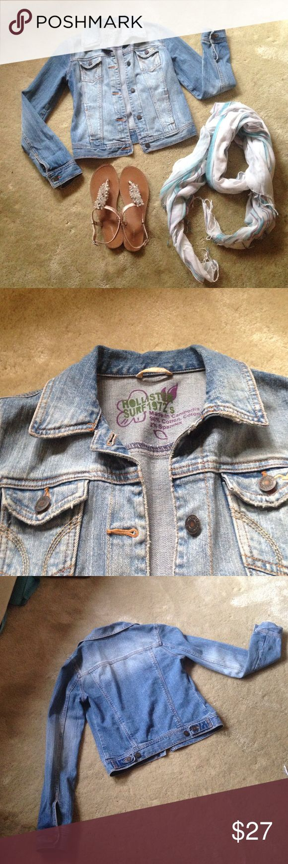 """Hollister distressed wash denim jacket An essential piece to have in your closet. Super cute distressed wash denim jacket with """"worn"""" edges on pockets and collar. In like new condition as it was only worn a few times. 98%cotton 2%spandex. Size S Hollister Jackets & Coats Jean Jackets"""