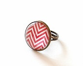 Red Chevron Ring. Geometric Adjustable Metal and Glass Dome Ring. Red and White Zig Zag Ring.