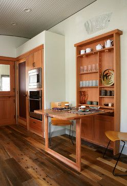 Small Kitchen Murphy bed style table - Extra Counter Space! Wonder if it folds up, or if the doors below the table open and the table folds down behind them?
