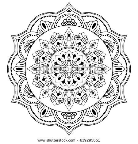 henna tatoo mandala mehndi style decorative pattern in oriental style coloring book page. Black Bedroom Furniture Sets. Home Design Ideas