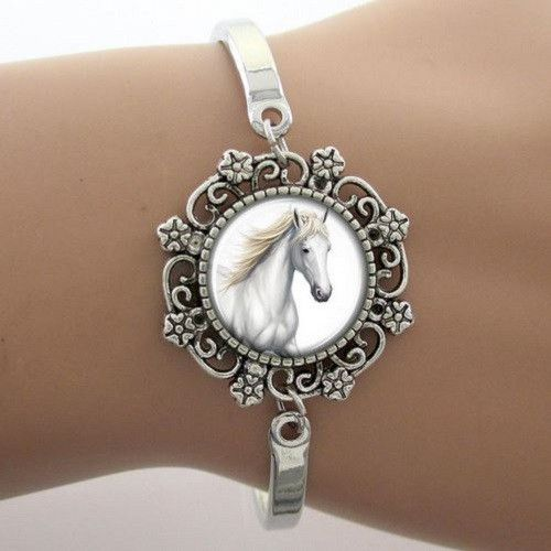 Silver Plated White Horse Cuff Bracelet