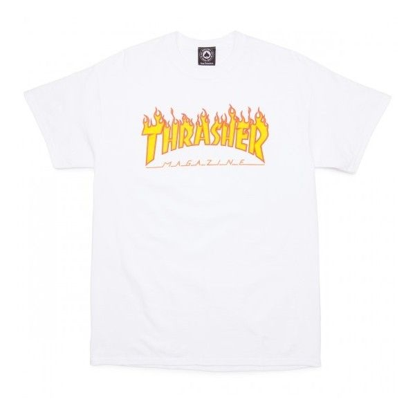 Thrasher Flame T-Shirt - Black (1,485 INR) ❤ liked on Polyvore featuring tops and t-shirts