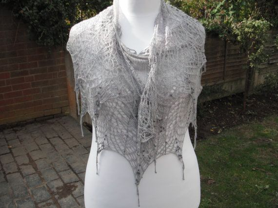 Tussah Silk Hand Knit Lace Shawl by WrapsodyInLace on Etsy, £85.00