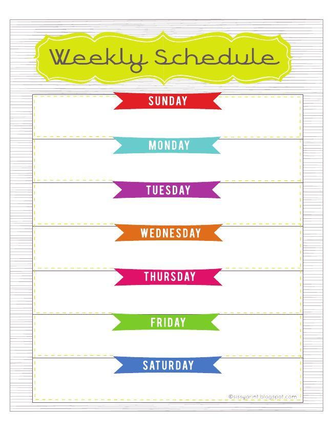 25+ unique Weekly schedule ideas on Pinterest Cleaning hacks - weekly calendar printable