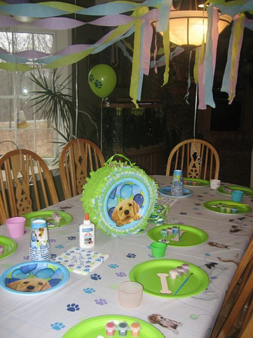 My daughter had a Puppy Party for her 7th birthday.  This page includes all of her birthday party details as well as many party photos.  You will find Puppy party invitations, favors, cake supplies, partyware, decorations and party games & crafts.