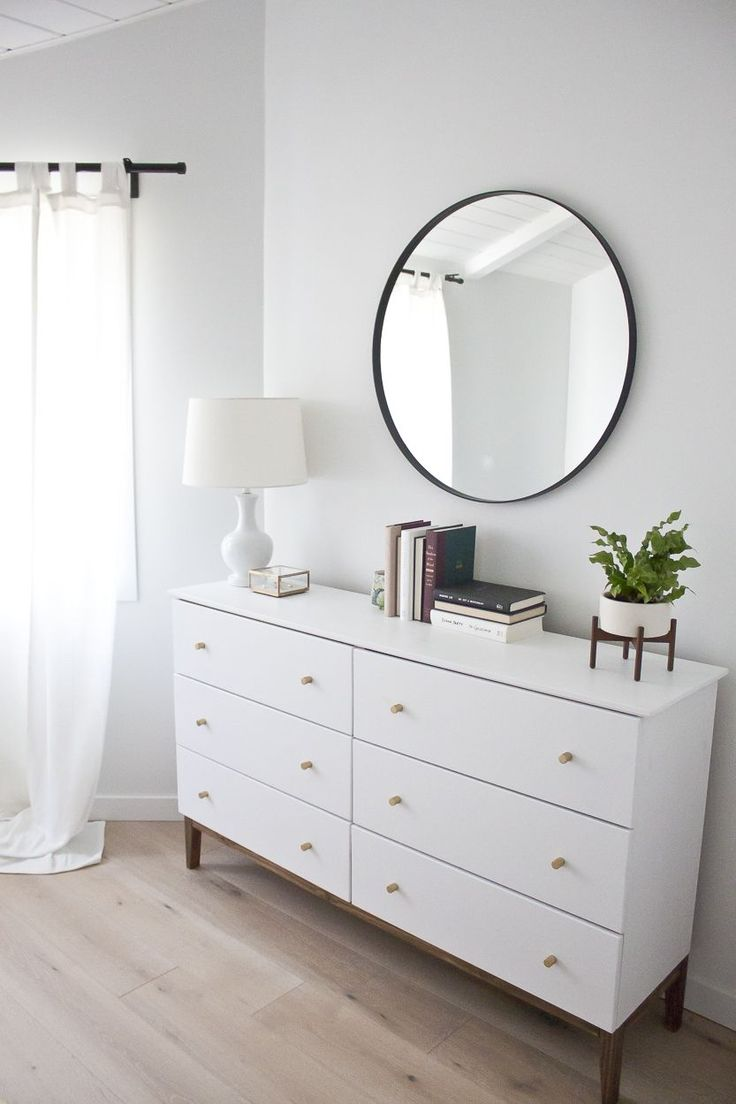 Modern bedroom dresser with mirror - Modern White Dresser A West Elm Inspired Ikea Hack