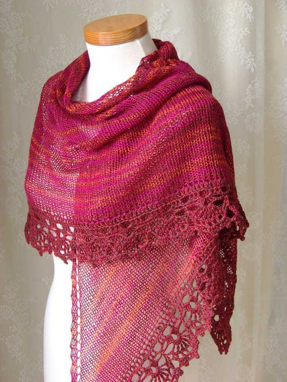 Lace Triangle Shawl Crochet Pattern : 17 Best images about BEAUTIFUL SHAWLS on Pinterest Free ...