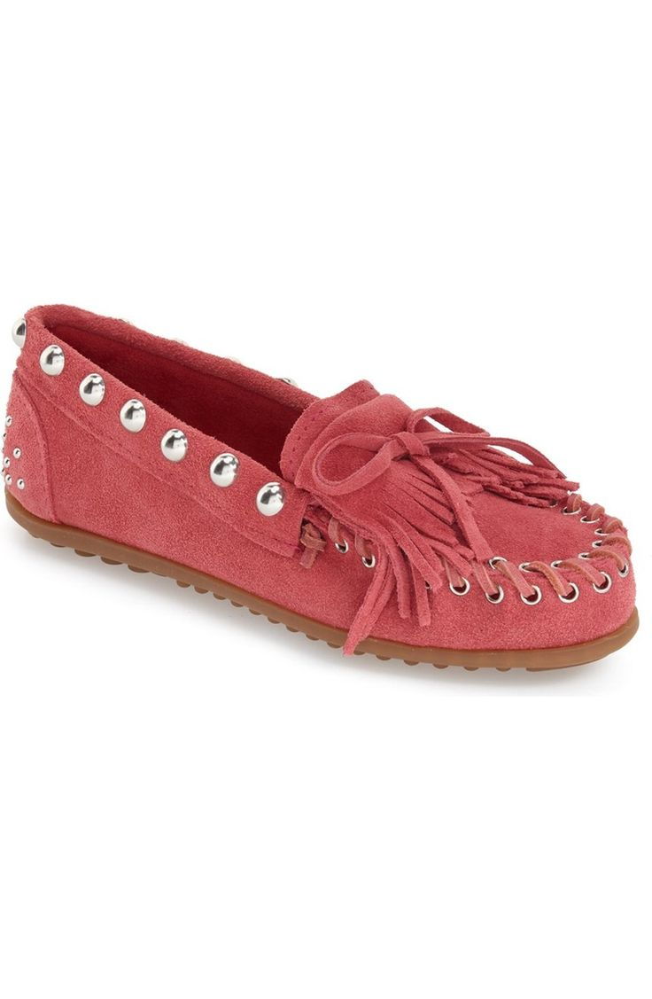 Crushing on these pink moccasin-style slip-ons punctuated by polished dome studs for a chic look.