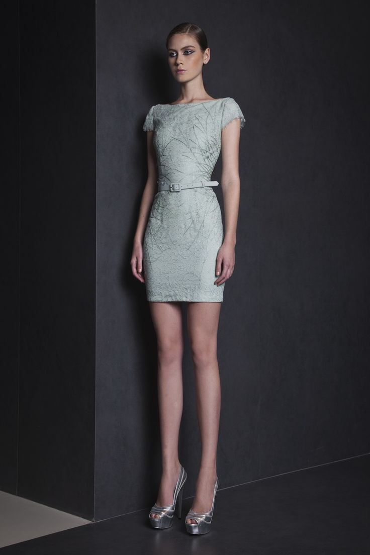 Ready To Wear Spring Summer 2015  | Style 15 Lace Watergreen short dress with boat neckline and cap sleeves, embellished with Silk thread embroideries.