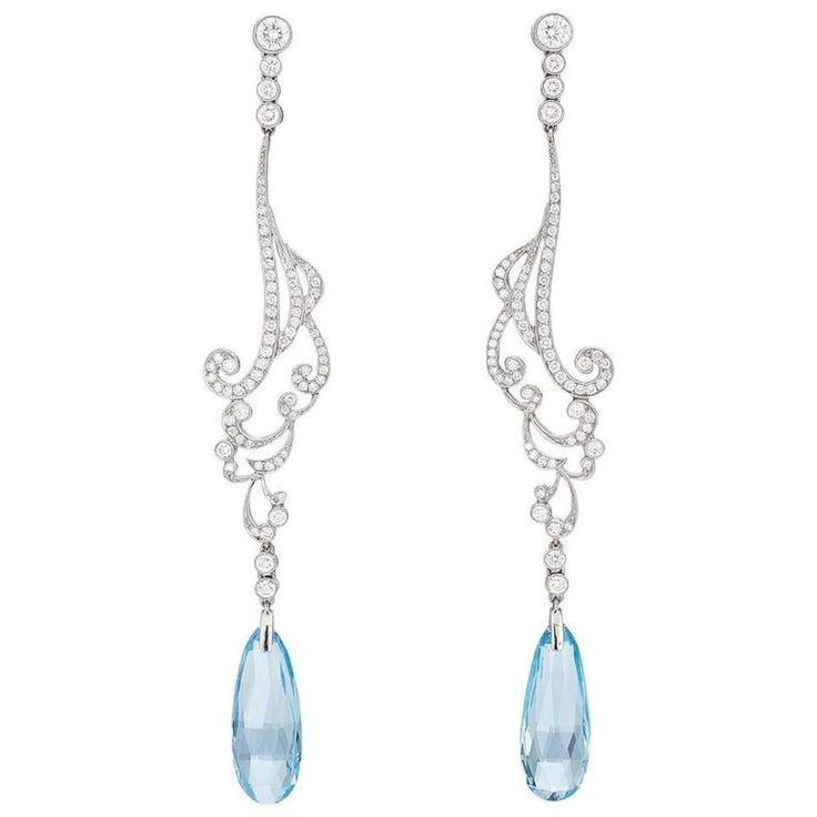 Just lovely! K. Glittering aquamarine and diamond drop earrings | From a unique collection of vintage drop earrings at https://www.1stdibs.com/jewelry/earrings/drop-earrings/