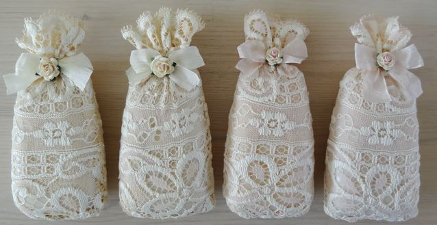 Wrapped soap in lace