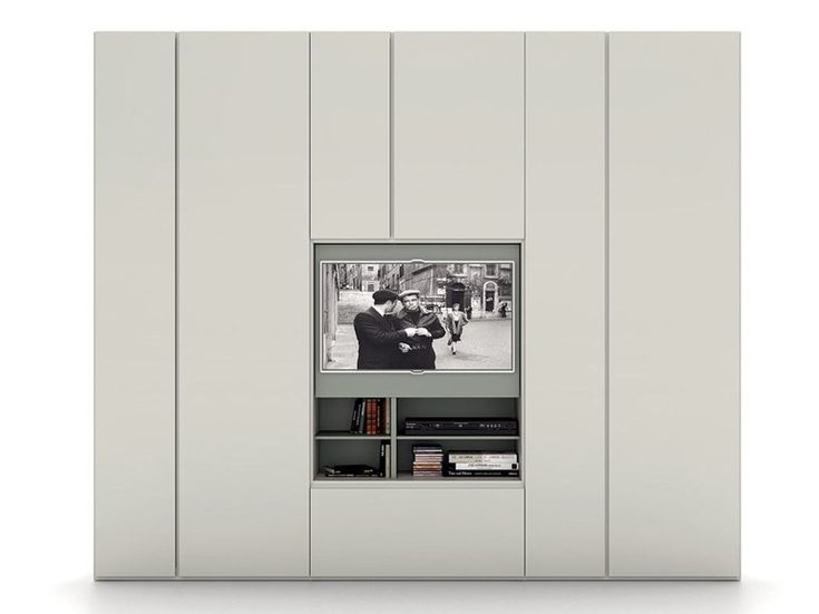 Contemporary style sectional lacquered wooden wardrobe with built-in TV GRAFIK   Wardrobe with built-in TV - Caccaro