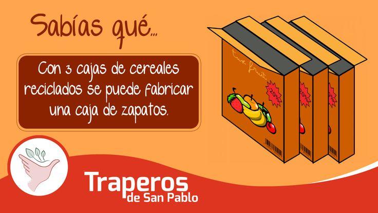 Sabías que ... Con 3 cajas de cereales reciclados se puede fabricar una caja de zapatos. Ten en cuenta la cantidad de árboles que se evitarían talar si comenzamos en nuestras casas. Dona lo que ya no uses para que otras personas le puedan dar un segundo uso y así evitar el generar mas desperdicios. Central: 258-3889 RPC: 943520010 Email: donaciones@traperosdesanpablo.org http://www.traperiasanpablo.org #Reciclaje #Donación #Ecología #Perú #Traperos #Traperia #Sabiasque