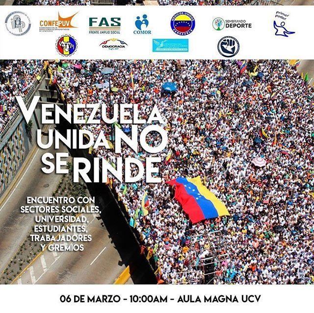 No se vence al que no se rinde . . Mañana todos los venezolanos que crean en un cambio urgente la restitución de la democracia y el respeto a todos los derechos de todas las personas deben estar en el Aula Magna de la #UCV. . El levantar de un pueblo hambriento de democracia y libertad no se hace esperar.