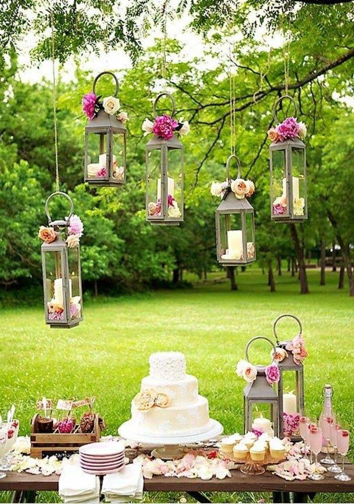 mariage shabby chic lanternes bougies tarte et gateaux verres de champagne