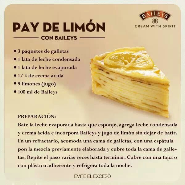 Pay de limon con Baileys