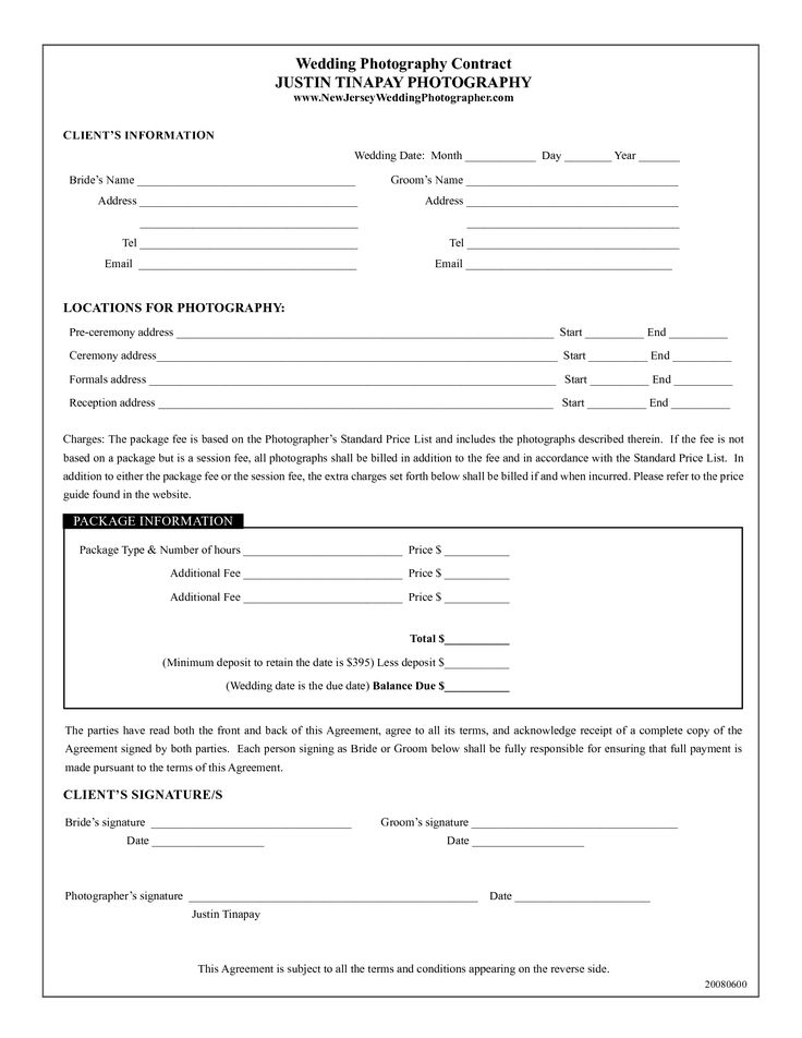 photography contract template Wedding Photography Contract - general liability release
