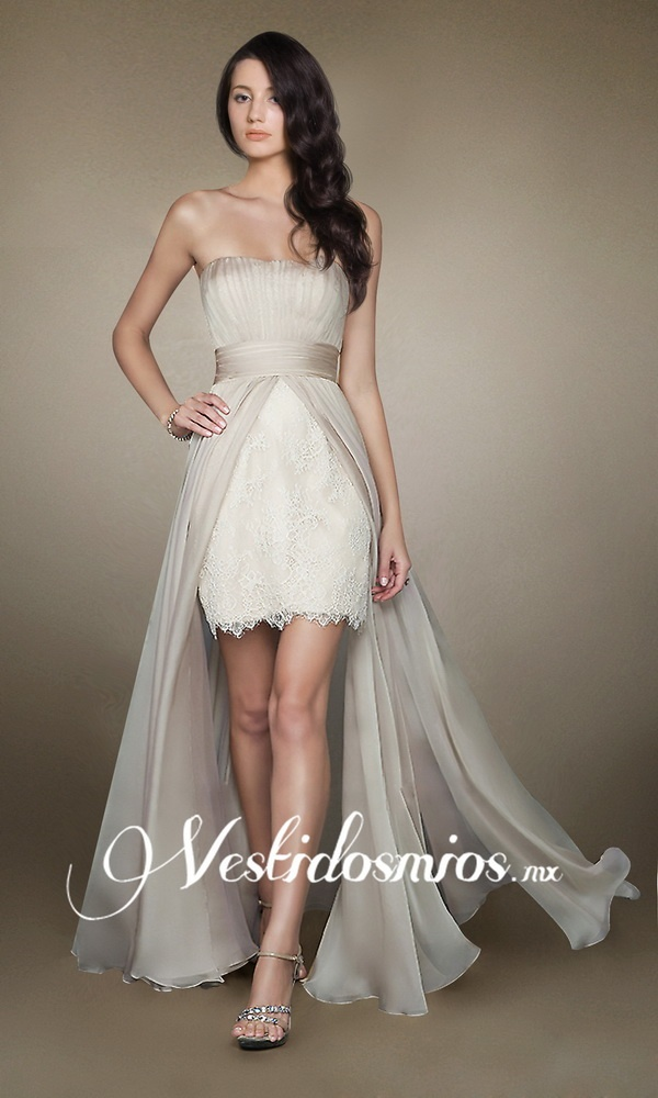 Chiffon Strapless Elegante y Sexy Vestidos de Noche de Encaje VP168 [VP168] - Mex$2,259