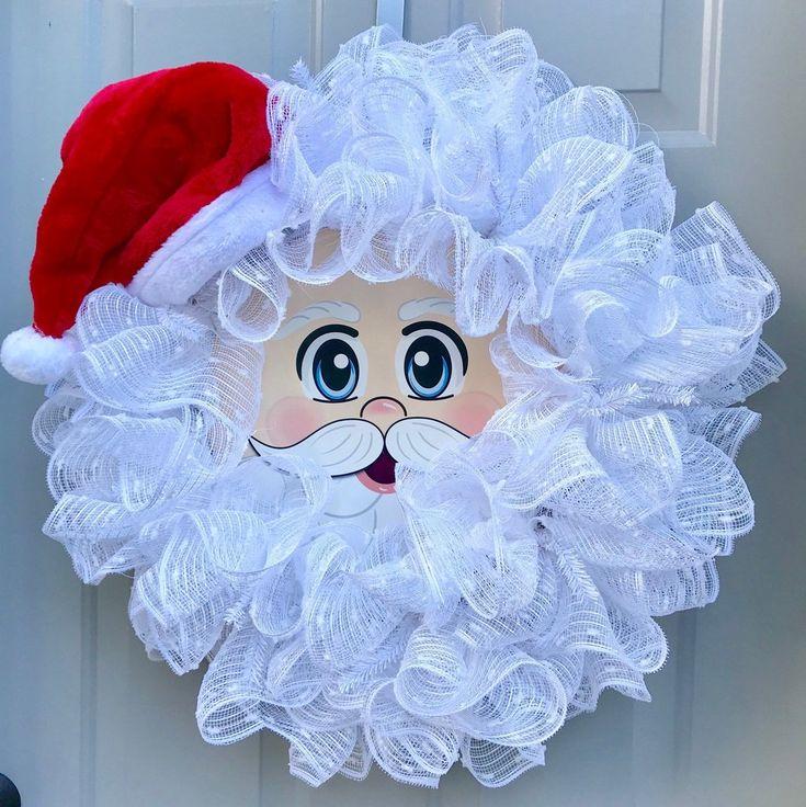 Santa Wreath, Christmas Wreath, Red and White Wreath, Santa Hat, Santa Face This…