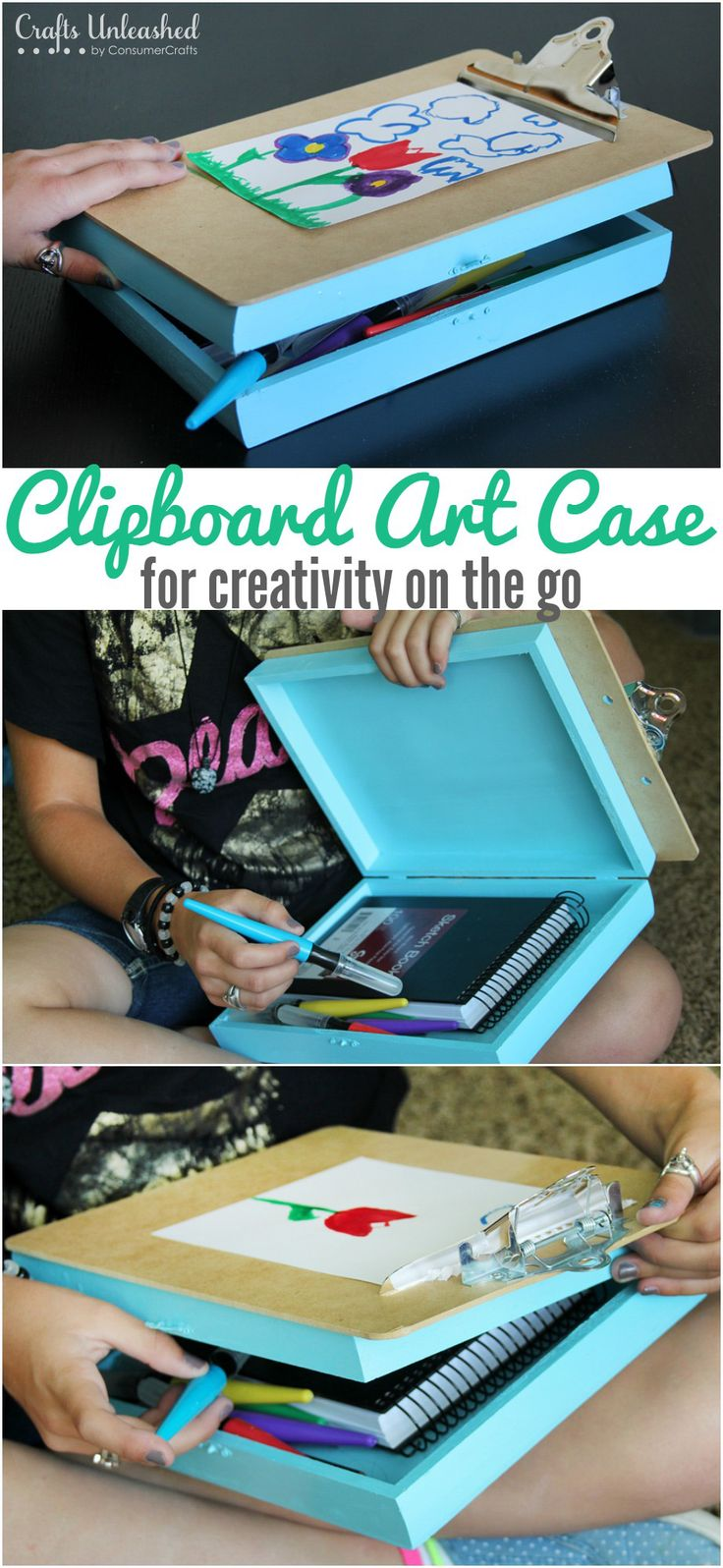 Keep your kids entertained AND spark their creativity while on the go with this DIY clipboard road trip case!