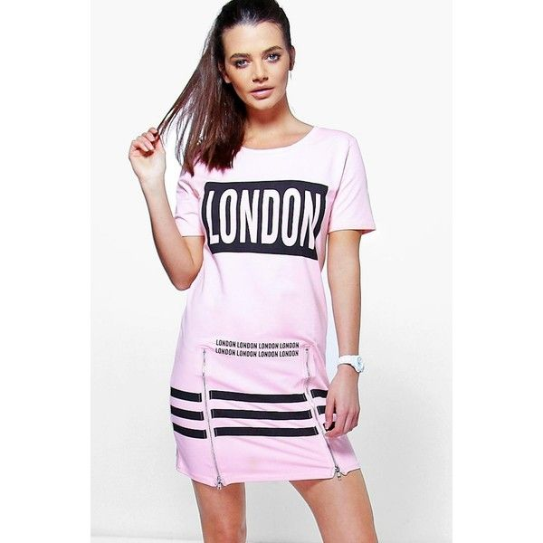 Boohoo Melissa Sports London Printed T-Shirt Dress ($20) ❤ liked on Polyvore featuring dresses, pink, evening dresses, white cotton camisole, white evening dresses, cotton camisole and bodycon dress