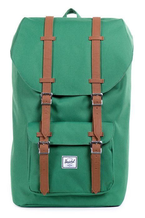 The Emerald Green Little America Backpack is an exciting new colour for one of the most popular Herschel backpack silhouettes. Inspired by classic mountaineering, this backpack is large enough for use as a carryall for a few days away and features enough pockets and sleeves for all the modern essentials. Fully Lined Coated Cotton-Poly Fabric. http://www.zocko.com/z/JErmv