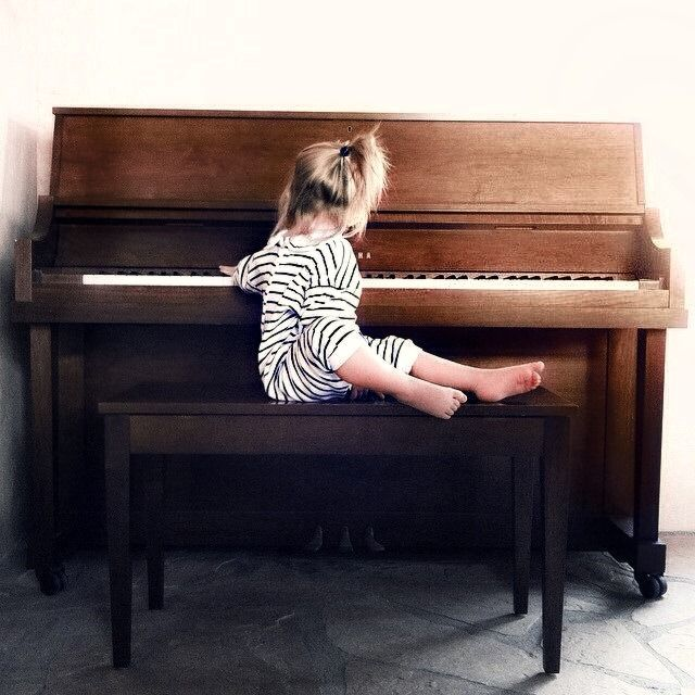 I always love having a piano/instruments around kids growing up. Get them that ear for music nice and early.