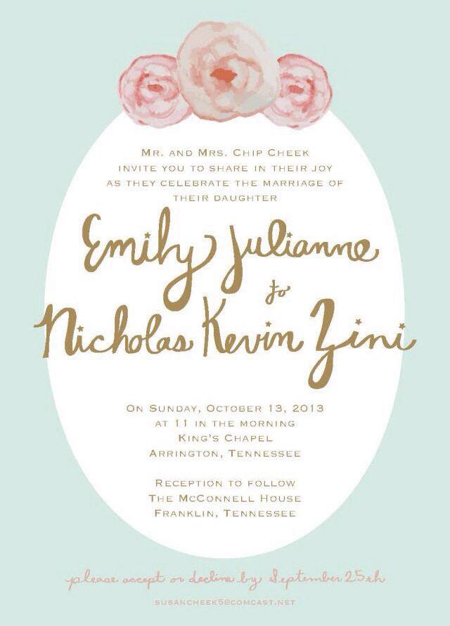 Wedding invitation by Rachel Hall